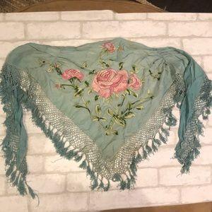 Vintage, Teal Fringe, Embroidered Florals Shawl